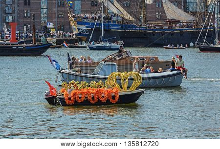 Amsterdam, Netherlands - August 20: SAIL Amsterdam 2015 is an immense flotilla of Tall Ships maritime heritage naval ships and impressive replicas August 20, 2015 in Amsterdam, Netherlands