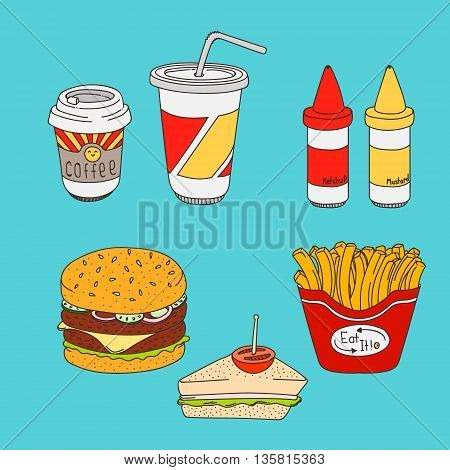 Set of cartoon fast-food meal colored, hamburger, sandwich, fries, coffee, soda, ketchup and mustard on cyan background