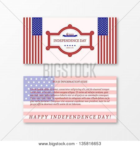 Happy independence day card United States of America. Paper design for 4th of July theme. American Flag paper design. Patriotic banner. Vector illustration greeting cards.