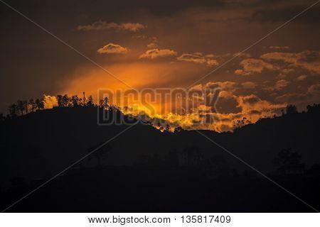 an impressive sunset. a unique image clarity an unforgettable landscape