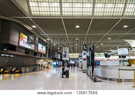 TOKYO, JAPAN - circa JUNE 2016: Departure Floor at Narita International Airport, Japan. Narita airport, also known as Tokyo Narita Airport, is an international airport serving the Greater Tokyo Area of Japan.