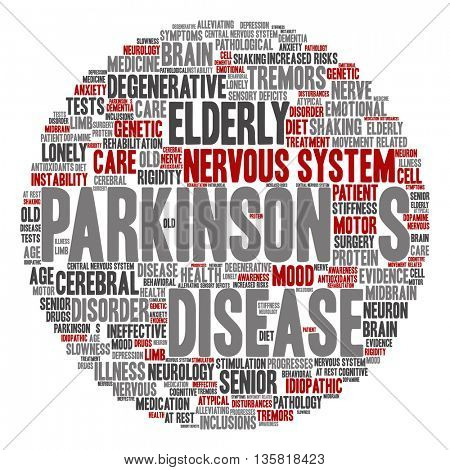 Concept Parkinson`s disease healthcare or nervous system disorder round abstract word cloud isolated on background, metaphor to healthcare, illness, degenerative, genetic, symptom or brain