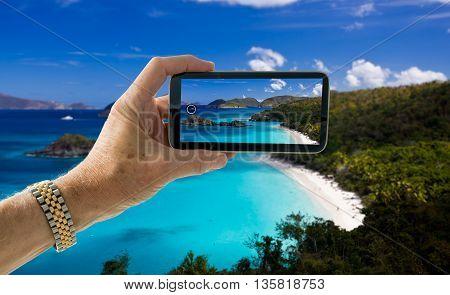 Snapshot Of Beach At Trunk Bay On St John Usvi