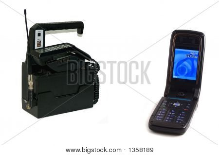 one of the first portable mobile phones compared to a new flip phone on white background poster