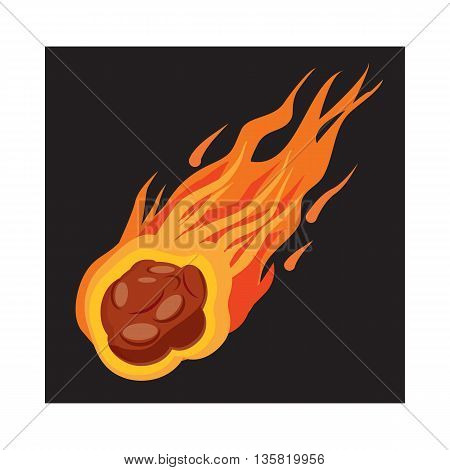 Falling meteorite icon in cartoon style on a white background