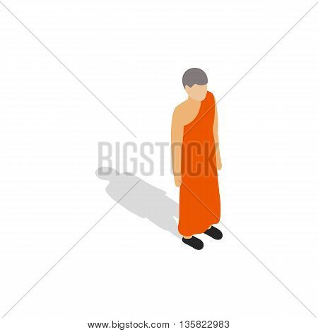 Buddhist monk wearing orange robe icon in isometric 3d style on a white background