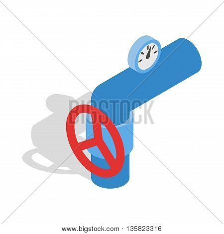 Pipe with a red valve and meter icon in isometric 3d style on a white background