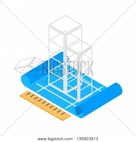 Building construction plan icon in isometric 3d style on a white background