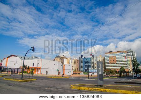QUITO, ECUADOR - JULY 7, 2015: Quito in a nice sunday, sun is shinning and nobody on the streets.