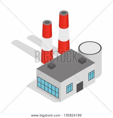 Power plant icon in isometric 3d style on a white background
