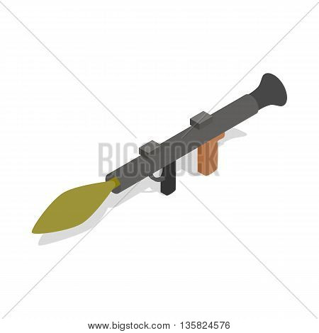 Military rifle army anti tank rocket grenade gun icon in isometric 3d style on a white background