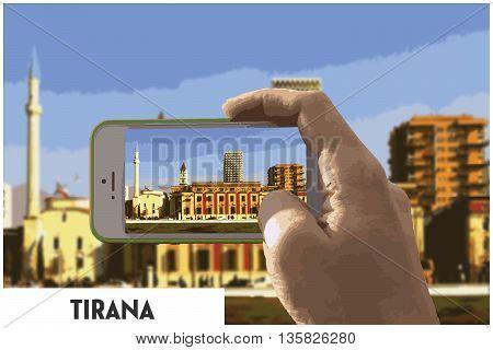 Photo of Tirana in Albania in phone poster
