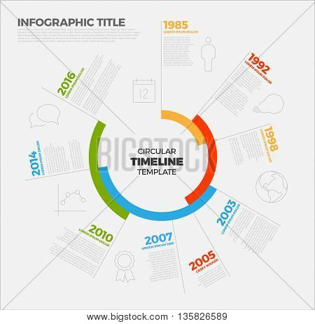 Vector Infographic circular timeline report template with the biggest milestones, icons and big colorful years labels