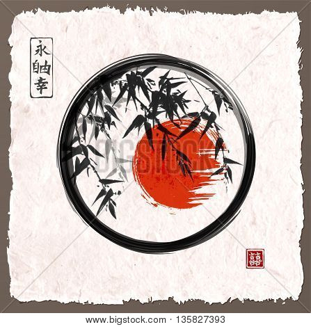 Bamboo trees and red sun in black enso zen circle hand-drawn with ink in traditional Japanese painting style sumi-e Contains hieroglyph - happiness. Vintage paper background.