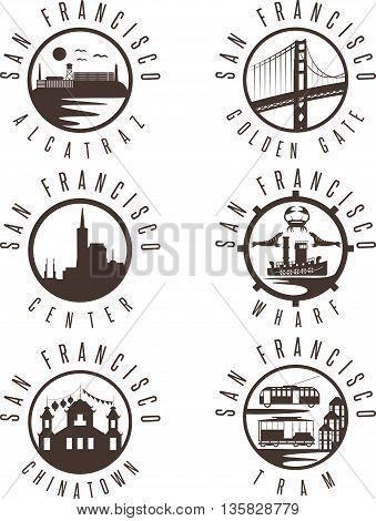 Label Set With Landmarks Of San Francisco California,usa . Wharf , Alcatraz,business Center ,golden
