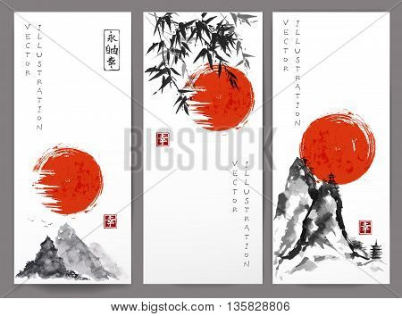 Three banners with red sun, mountains and bamboo in traditional Japanese ink painting sumi-e style. Contains hieroglyphs - happiness, eternity, freedom