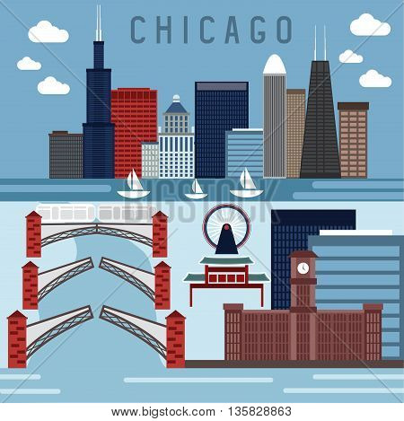 Flat Design Vector Horizontal Banners With Landmarks Of Chicago,illinois Usa