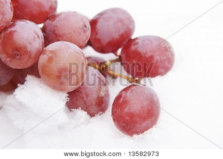 Red Grapes In Snow