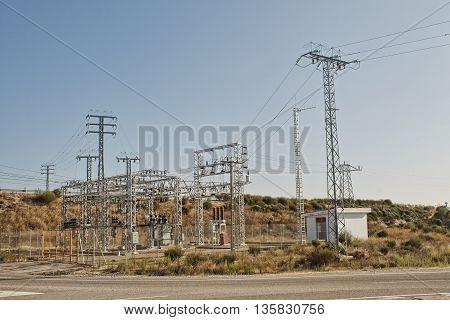 Electricity station Electricity plant landscape over blue sky