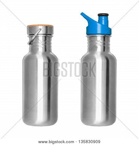 Stainless steel bottles isolated on white background