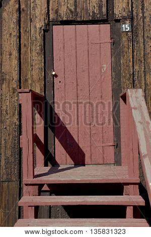 wooden traditional willage house door with old stylish
