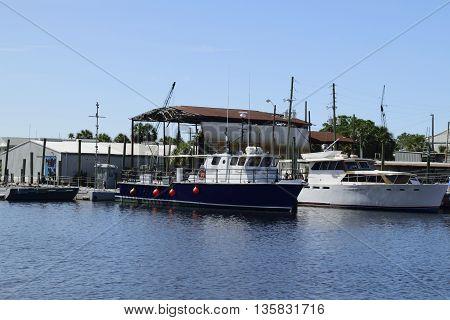Fishing boats on the sponge docks in Tarpon Springs, Florida.