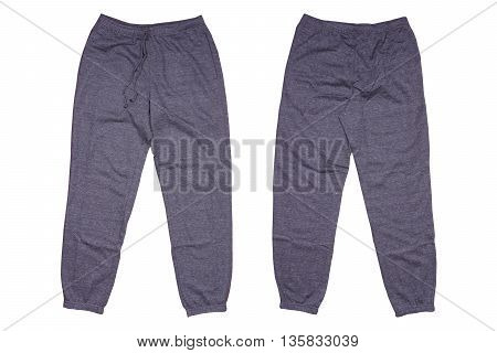 Gray sweatpants isolated on white color background