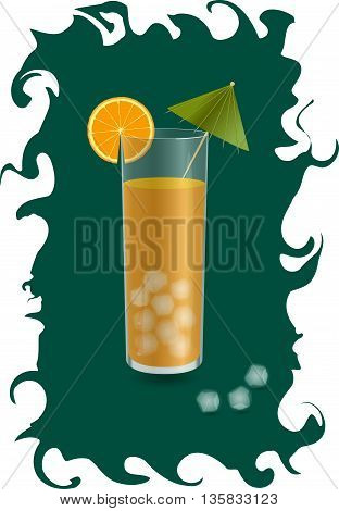 orange juice in a glass with ice cubes, a slice of orange and a cocktail umbrella