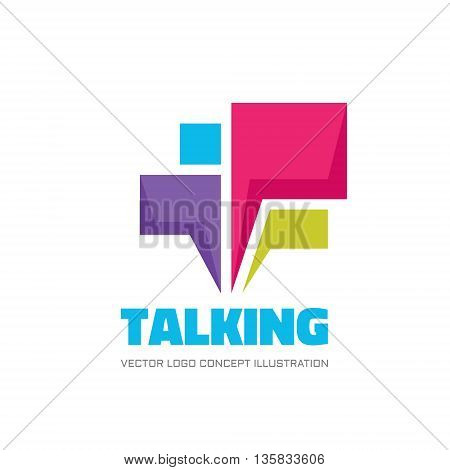 Talking - speech bubbles vector logo concept illustration in flat design style. Dialogue vector icon. Chat vector sign. Social media symbol. Communication messages insignia. Design element.