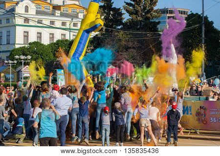 Participants Of The Festival Of Colors Holi Together Threw Paint, Cheboksary, Chuvash Republic, Russ