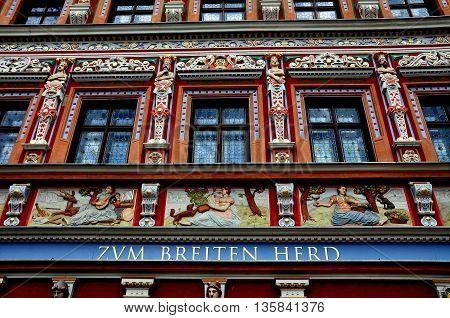 Erfurt Germany - June 2 2013: Renaissance facade of the 1584 Burgomeister's House