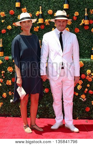 JERSEY CITY, NJ - MAY 30: Guillaume de Lesquen (R) and wife Gabrielle de Lesquen attend the 8th Annual Veuve Clicquot Polo Classic at Liberty State Park on May 30, 2015 in Jersey  City, New Jersey.
