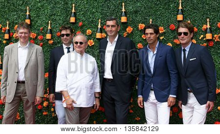 Dominique Demarville, Joel Robuchon, Laurent Boidevezi, Jean-Marc Gallot, Nacho Figueras & Aymeric Sancerre at Veuve Clicquot Polo Classic at Liberty Park on May 30, 2015 in Jersey  City, New Jersey.