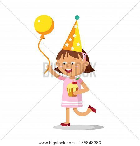 Happy girl with balloon and birthday cake going to party