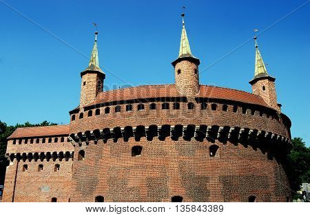 Krakow Poland - Jine 7 2010: Barbican was built in stages starting in 1285 and formed part of the city's old medieval defensive walls