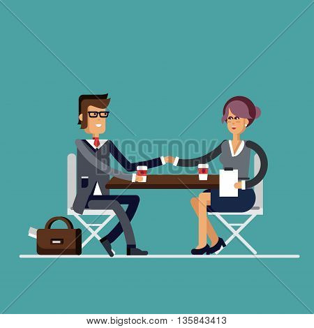 Successful business negotiations. Closed deal handshake over a desk