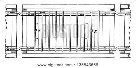 Copper refining bath, Superior view, vintage engraved illustration. Industrial encyclopedia E.-O. Lami - 1875.