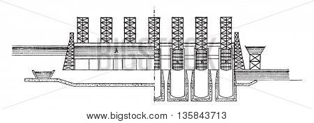 Elevator floats, On the left half longitudinal section, right half elevation, vintage engraved illustration. Industrial encyclopedia E.-O. Lami - 1875.
