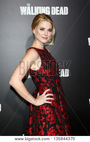NEW YORK-OCT 9: Actors Alexandra Breckenridge attends AMC's 'The Walking Dead' season six premiere at Madison Square Garden on October 9, 2015 in New York City.