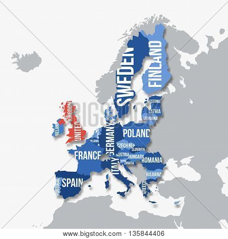 Vector map of European Union. Brexit. European Union without United Kingdom.