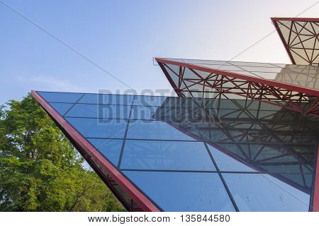 Modern building and blue sky at evening