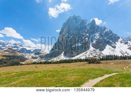 """Italian Dolomites Landscape. """"sassolungo"""" Mountain View"""