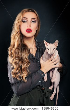Blond Woman Fashion Model with Hairless Cat