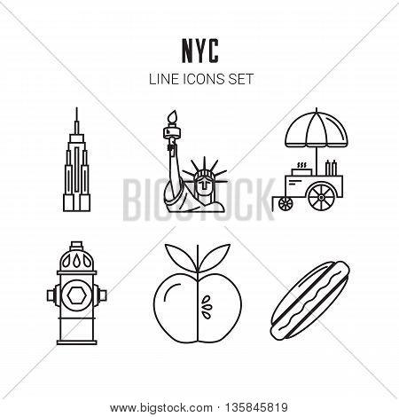 New York City. Line icons set. Vector eps 10