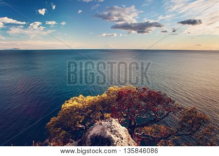 Italian Landscape with Sea clouds and Mountain