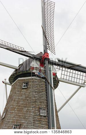 De Zwaan Dutch or Graceful Bird Windmill in Holland, Michigan poster