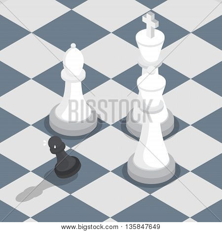 Isometric black pawn surrounded by white king queen bishop on the chessboard facing the challenge working under pressure concept