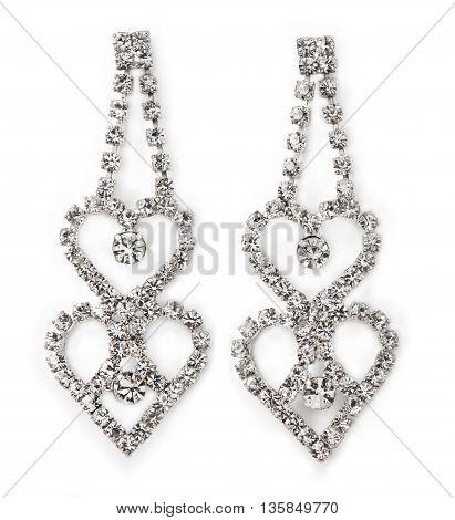 Heart-Shaped Women's Diamond Earrings straight on white with faint shadows.