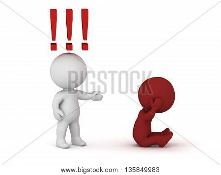 A 3D character accusing another character. Isolated on white background.