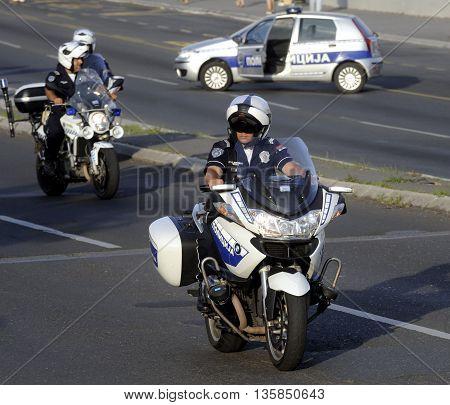 BELGRADE, SERBIA - CIRCA JUNE 2016: Two police officers on their motorbikes,  circa June 2016 in Belgrade